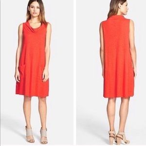 Eileen Fisher Draped Tunic Cowl Neck Pocket Dress
